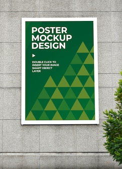 Cartaz vertical na maquete de parede