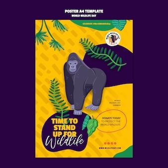 Cartaz vertical para a celebração do dia mundial da vida selvagem