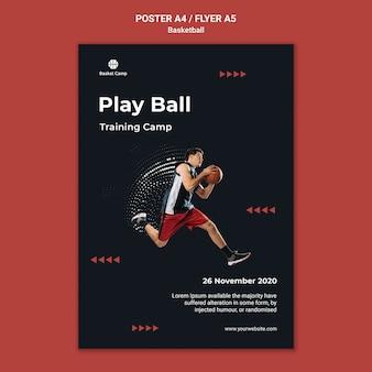 Cartaz vertical para acampamento de treinamento de basquete