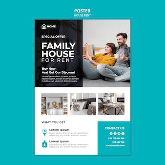 Cartaz vertical para aluguel de casa de família