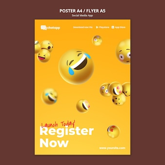 Cartaz vertical para aplicativo de bate-papo de mídia social com emojis