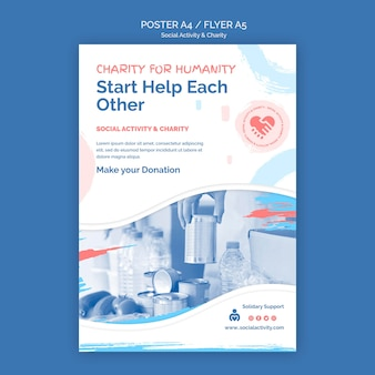 Cartaz vertical para atividades sociais e caridade