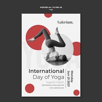 Cartaz vertical para aula de ioga com instrutora