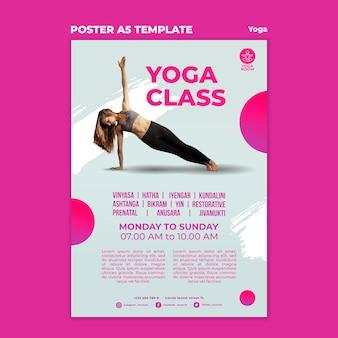 Cartaz vertical para aula de ioga com mulher