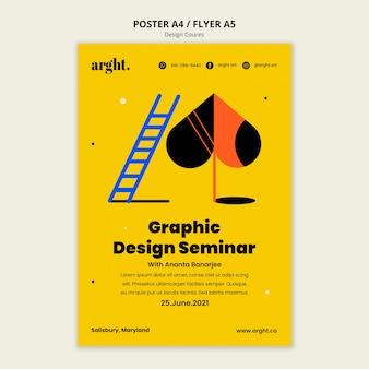 Cartaz vertical para aulas de design gráfico