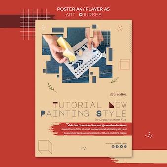 Cartaz vertical para aulas de pintura
