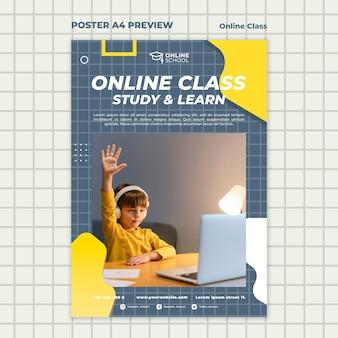 Cartaz vertical para aulas online com criança