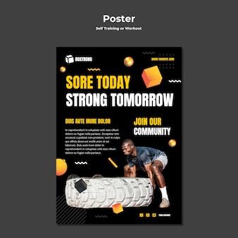 Cartaz vertical para autotreinamento e exercícios