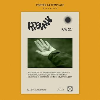 Cartaz vertical para aventura de outono na floresta