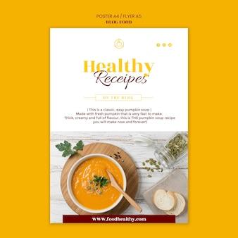 Cartaz vertical para blog de receitas de comida saudável