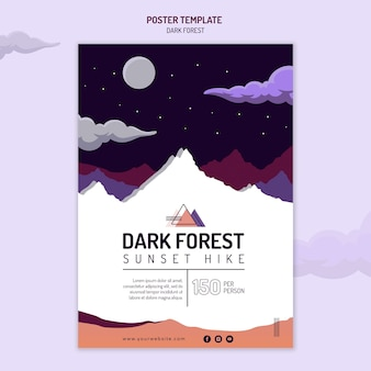 Cartaz vertical para caminhada na floresta escura
