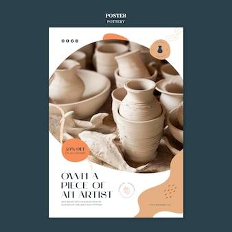 Cartaz vertical para cerâmica com vasos de barro