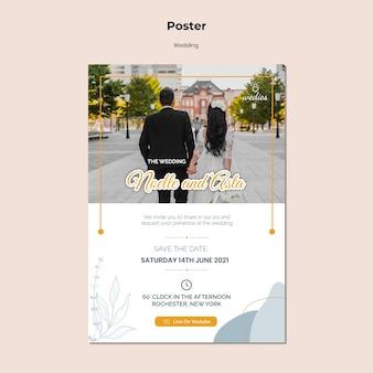 Cartaz vertical para cerimônia de casamento com a noiva e o noivo