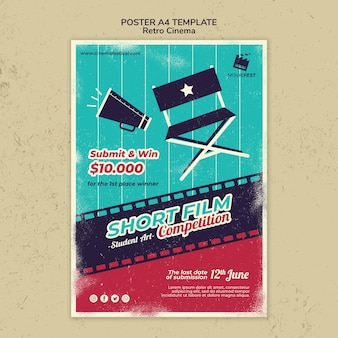 Cartaz vertical para cinema retro