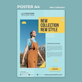 Cartaz vertical para coleção de moda com mulher na natureza