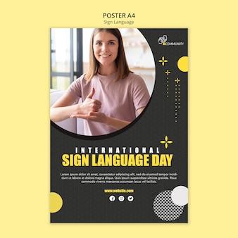 Cartaz vertical para comunicação em linguagem de sinais