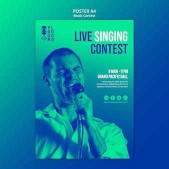 Cartaz vertical para concurso de música ao vivo com intérprete
