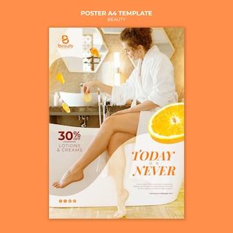Cartaz vertical para cuidados com a pele de spa em casa com fatias de mulher e laranja