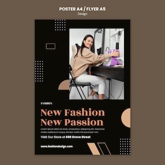 Cartaz vertical para designer de moda