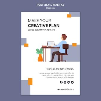 Cartaz vertical para empresa com plano de negócios criativo