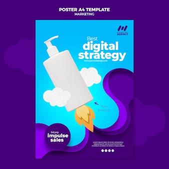 Cartaz vertical para empresa de marketing com produto