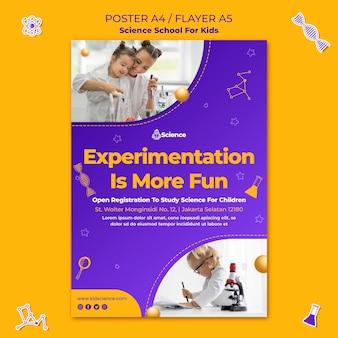 Cartaz vertical para escola de ciências para crianças