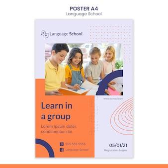Cartaz vertical para escola de idiomas