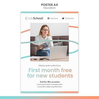 Cartaz vertical para escola de programação online