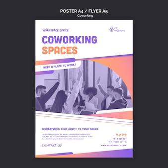Cartaz vertical para espaço de coworking