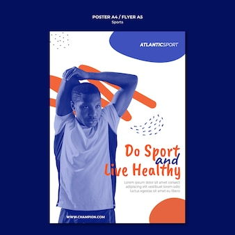 Cartaz vertical para esportes com homem