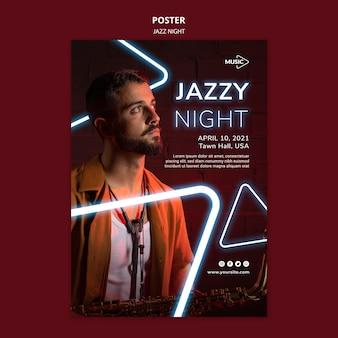 Cartaz vertical para evento noturno de jazz neon