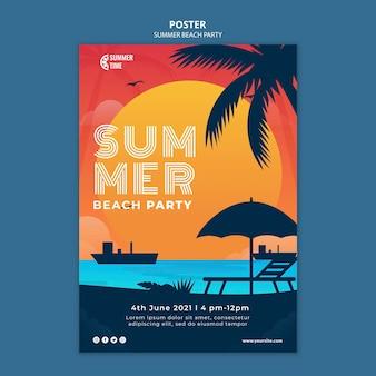 Cartaz vertical para festa de verão na praia
