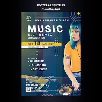 Cartaz vertical para festa noturna de música techno