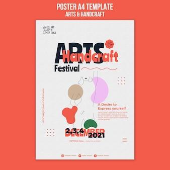 Cartaz vertical para festival de artes e artesanato