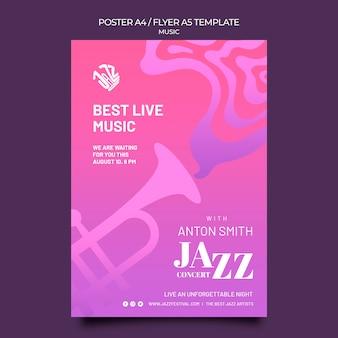 Cartaz vertical para festival de jazz e clube