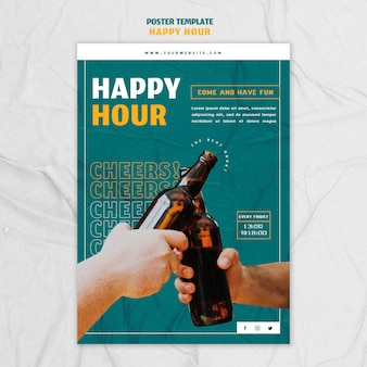 Cartaz vertical para happy hour