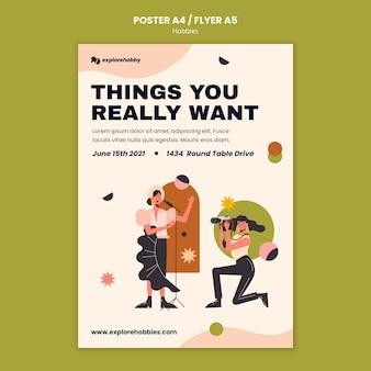 Cartaz vertical para hobbies e paixões