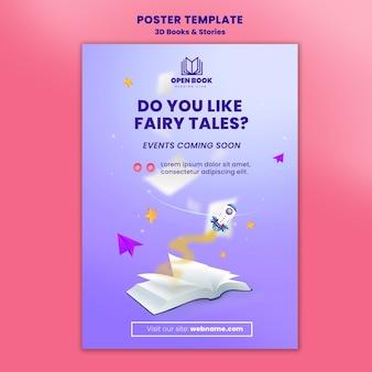 Cartaz vertical para livros com histórias e cartas
