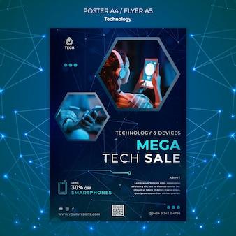 Cartaz vertical para loja de techno