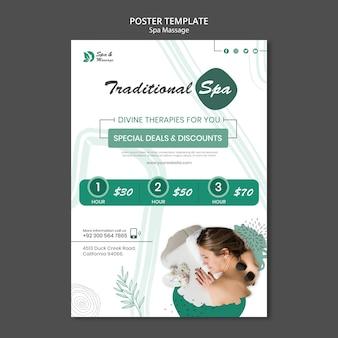 Cartaz vertical para massagem spa com mulher