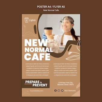 Cartaz vertical para novo café normal