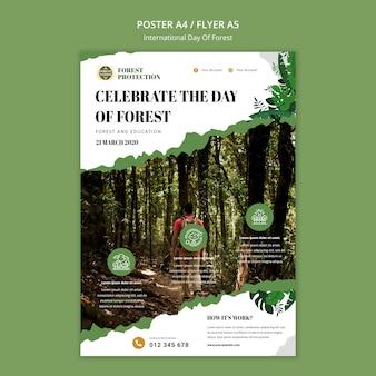 Cartaz vertical para o dia da floresta com a natureza