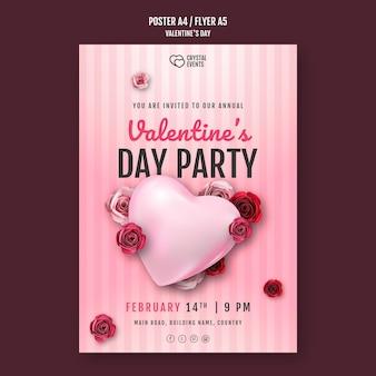 Cartaz vertical para o dia dos namorados com coração e rosas vermelhas
