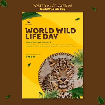 Cartaz vertical para o dia mundial da vida selvagem com animais