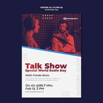 Cartaz vertical para o dia mundial do rádio com apresentador masculino
