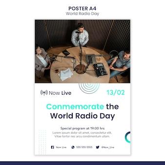 Cartaz vertical para o dia mundial do rádio