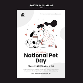 Cartaz vertical para o dia nacional do animal de estimação com dona e animal de estimação