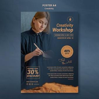 Cartaz vertical para oficina de cerâmica criativa com mulher