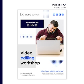 Cartaz vertical para oficina de edição de vídeo