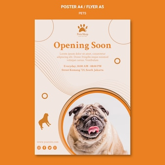 Cartaz vertical para pet shop com cachorro
